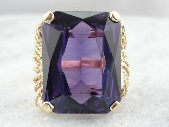 Synthetic Alexandrite Gold Cocktail Ring