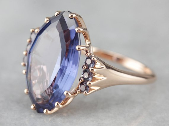 Synthetic Alexandrite Cocktail Ring