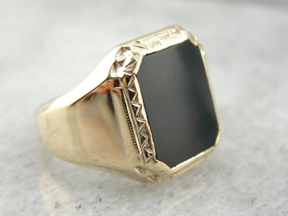Hand Engraved Art Deco Bloodstone Unisex Ring