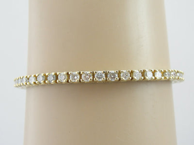 Yellow Gold 4.5 Carat Diamond Tennis Bracelet