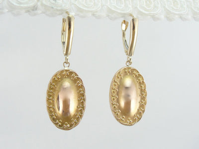 Upcycled Victorian Oval Gold Drop Earrings