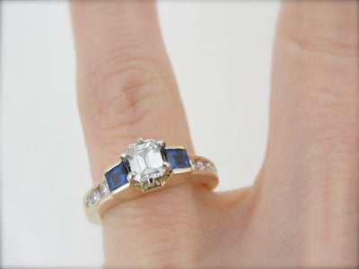 Substantial Diamond Engagement Ring with Square Sapphire Accents