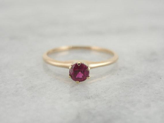 Antique Ruby Solitaire Engagement Ring
