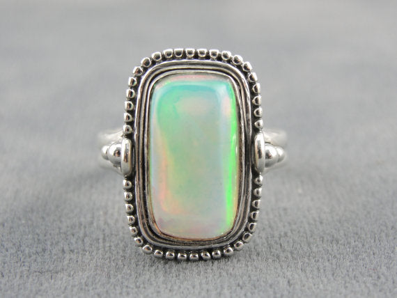 Rectangular Ethiopian Opal  Sterling Silver Ladies Ring