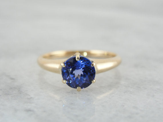 Beautiful Victorian Engagement Ring with Glowing Blue Tanzanite