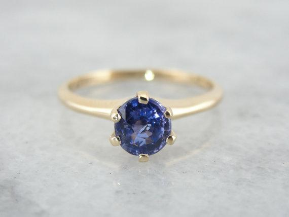 Classic Antique Gold Engagement Ring with Ceylon Sapphire
