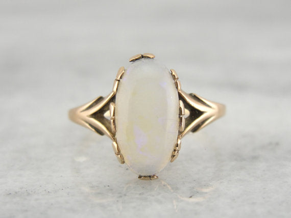 Antique Fine Opal Subtle Cocktail Ring