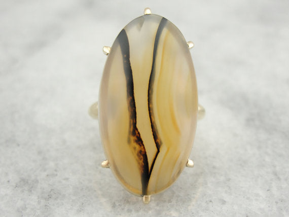 Unique Rose Gold Montana Plume Agate Ring