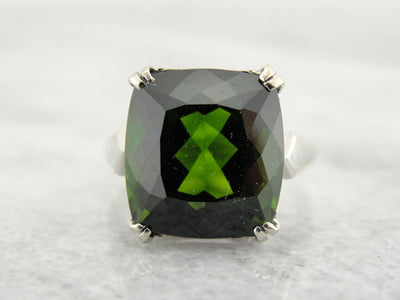 Large Green Tourmaline in Simple Ring