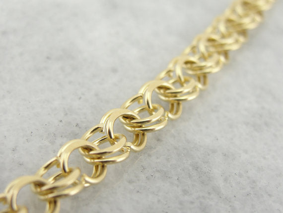 Classic Double Round Link Yellow Gold Bracelet