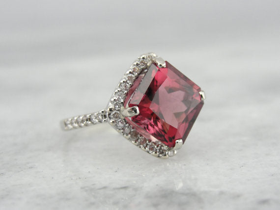 Raspberry Tourmaline in Diamond Halo Ring