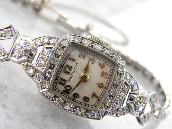 Art Deco Platinum and Diamond Hamilton Wrist Watch
