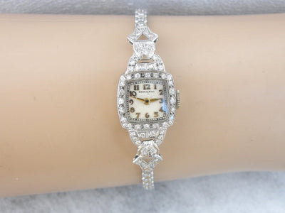 Art Deco Platinum and Diamond Hamilton Ladies Wrist Watch