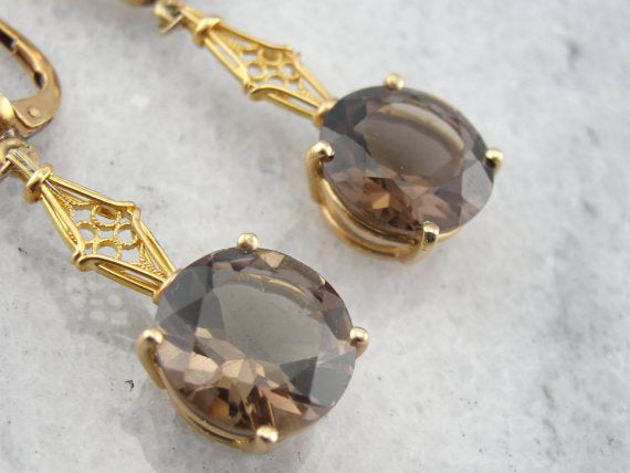 Smoky Quartz Gold Filigree Bar Drop Earrings