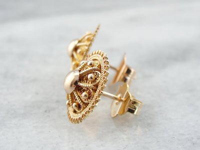 Ancient Style Filigree Stud Earrings in Fine Yellow Gold
