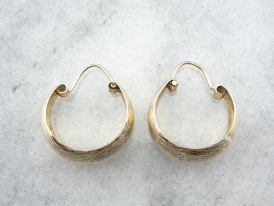 18K Yellow Gold, Brushed Finish Hoop Earrings