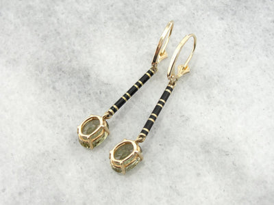 Beautiful Kornerupine Yellow Gold Bar Drop Earrings