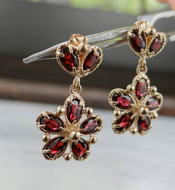 Deep Red Garnet Cluster Earrings, Pretty Gold Flowers