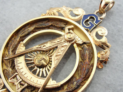 Rosy Yellow Gold Mason Medal with Blue Enamel