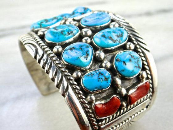 Tommy Moore Silver Cuff Bracelet with Turquoise and Coral