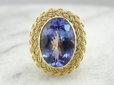 Tanzanite in Modernist Style Cocktail Ring