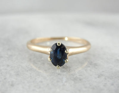 Navy Sapphire and Gold Solitaire Ring