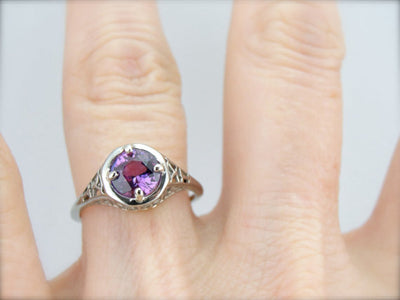 Pink Sapphire in a Classic Filigree Art Deco Engagement Ring
