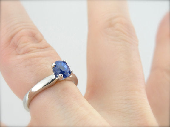 Exceptional Cobalt Blue Ceylon Sapphire in a Traditional Platinum Engagement Ring, Benchmark Quality Stone