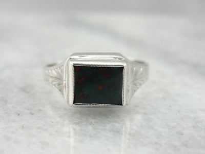 Engraved White Gold Art Deco Bloodstone Ring