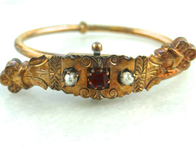 Ornate Victorian  Pearl and Ruby Doublet Center Bypass Bangle