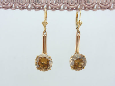 Luxurious Champagne Zircon and Rose Gold Earrings