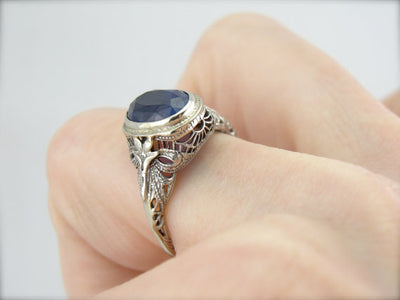 Cornflower Blue Ceylon Sapphire in Filigree Art Nouveau Mounting