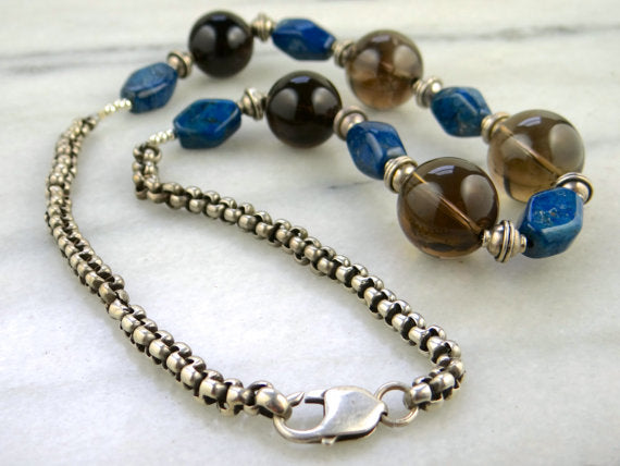 Antique Lapis Smoky Quartz  Necklace,  A. Elyse Designs