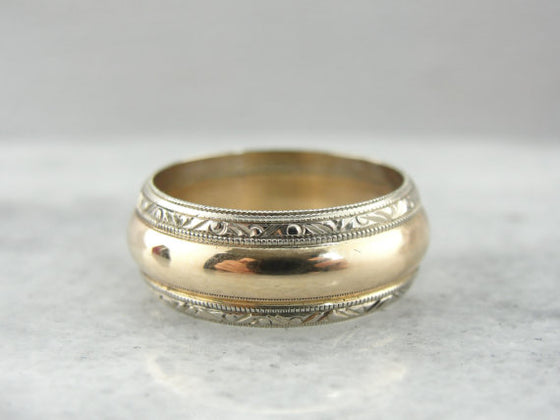 Outstanding Wide Decorative Wedding Band from the Retro Era