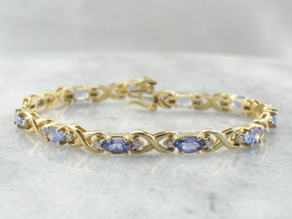 Blue Tanzanite and Diamond Tennis Bracelet