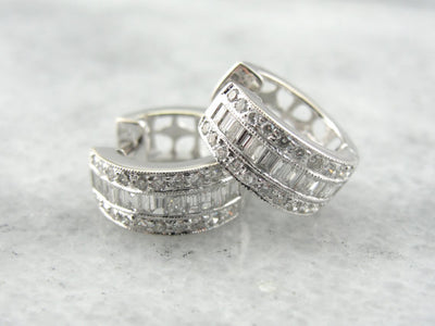 Contemporary 18K White Gold and Diamond Hoop Earrings