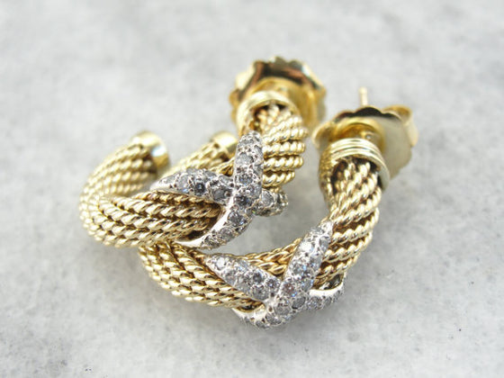 Luxurious Gold and Diamond Textured Hoops