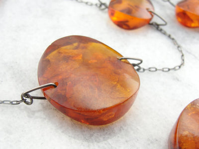 Mid Century Modern Amber Disc Necklace