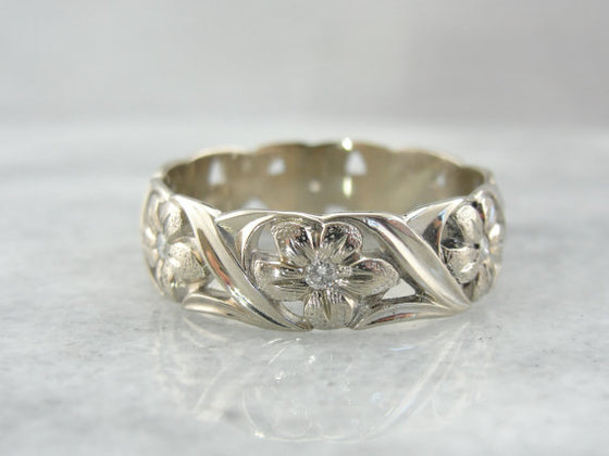 Diamond and White Gold Floral Wedding Band