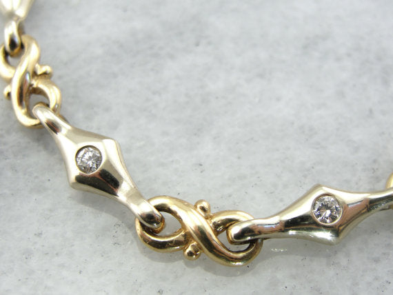 Figure Eight and Diamond Link Bracelet in Mixed Metals