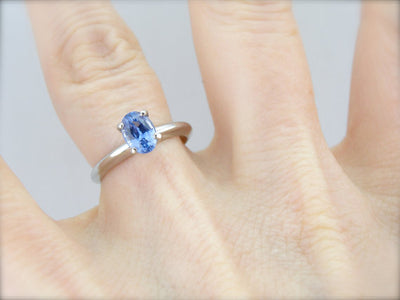 Solitaire Sapphire and Platinum Engagement Ring
