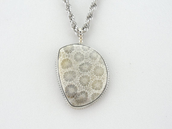 Lovely Cream Petrified Coral and Simple Silver Pendant