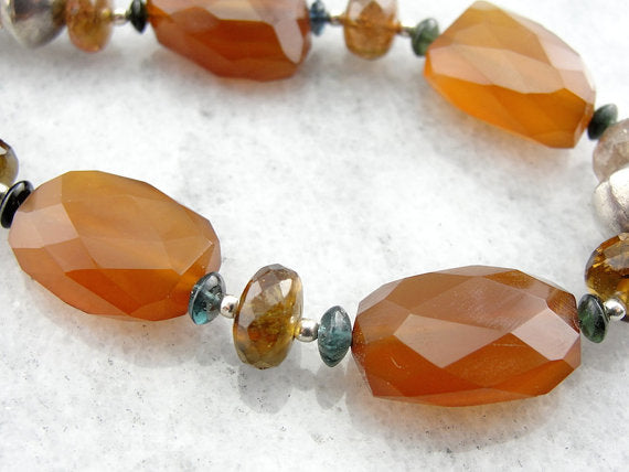 Carnelian, Citrine and Tourmaline Beaded Necklace