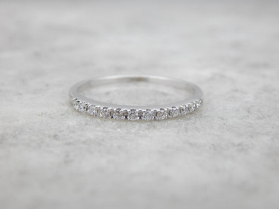 14K White Gold and Diamond Wedding Ring