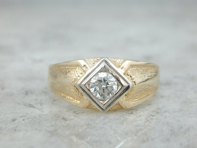 Vintage Men's Diamond Ring with Low Set Look