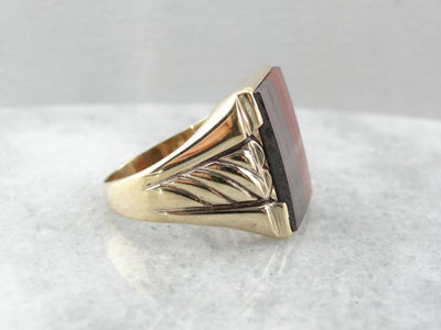 Bold Jasper and Hematite Retro Era Men's Ring