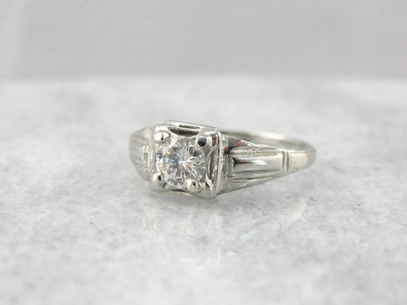 Low Set, Art Deco Diamond Engagement Ring