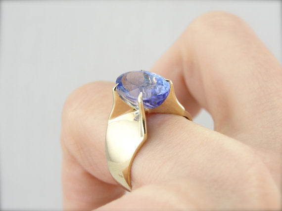 Eggplant and Cobalt Shaded Tanzanite in Vintage Cocktail Ring