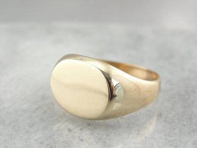 14K Yellow Gold Oval Signet Ring