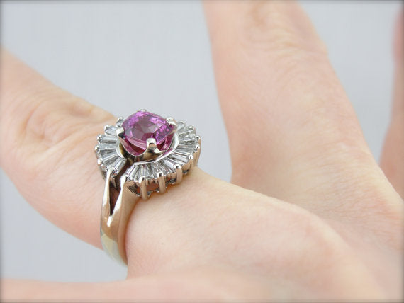 Pink Sapphire Cocktail Ring with Exceptional Quality